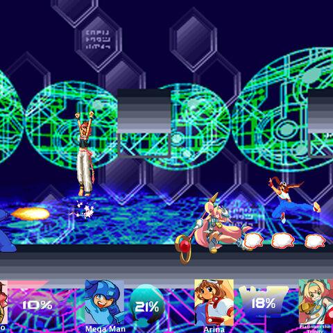 A battle between Momoko, Mega Man, Arina, and Platinum the Trinity