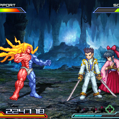 Ichirō Ōgami and Sakura Shinguji from <i>Sakura Wars</i> about to face Gill from <i>Street Fighter III</i>
