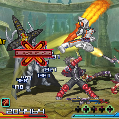 Reiji Arisu and Xiaomu from <i>Namco × Capcom</i>, along with solo unit Kamen Rider Fourze, fighting the Black Cross King from <i>Super Sentai</i>