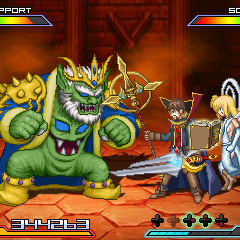 Original characters Adam Pines and Princess Eve Butterfly about to fight Nebiroth from <i>Super Ghouls 'n Ghosts</i>