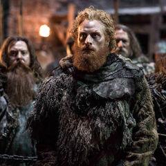 Tormund i jego ludzie patrzą na egzekucję Mance Raydera.
