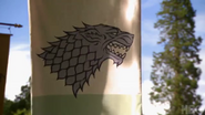 Stark banner behind the scenes