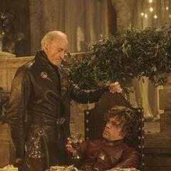 Zdjęcie promujące Tywina z Tyrionem, <a href=