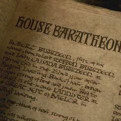 Casa Baratheon, visão ampliada da terceira página visível (a página inteira nunca é mostrada).