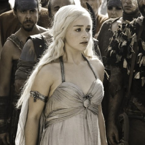 Daenerys about to receive her wedding present from Drogo in