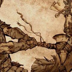 Robert zabija Rhaegara za pomocą młota bojowego.