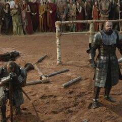 Gregor i jego brat Sandor po walce w <a href=