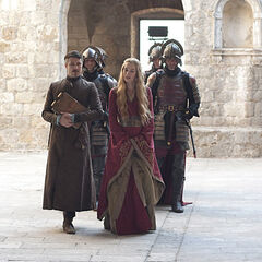 Cersei walking with Littlefinger in