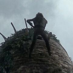 Bran upada z wieży.