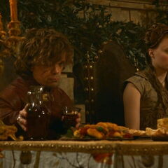 Tyrion Lannister and Sansa at their wedding in