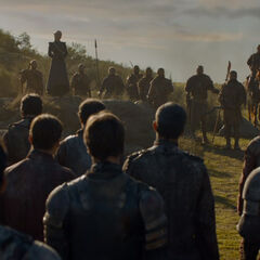 Daenerys addresses the troops.