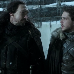 Jon żegna się z wujem, Benjenem Starkiem.