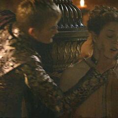 Król Joffrey poniża Ros.