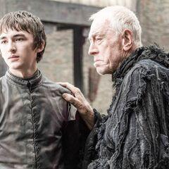 Bran Stark i trójoka wrona w Winterfell.