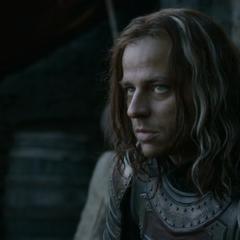 Arya podaje Jaqenowi swoje imię.