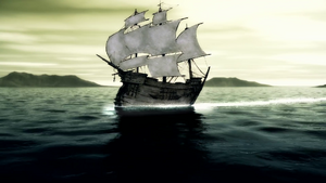 HL6 Ibbenese whaling ship on ocean