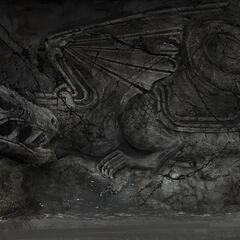 Kartenraum auf Drachenstein; CA einer Wandskulptur
