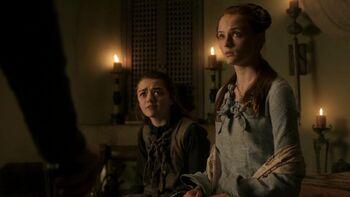 1x06 Санса и Арья уговаривают отца не отправлять их домой