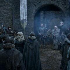 Bran ogłasza, że Winterfell poddaje się Tysonowi.