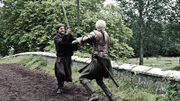 Brienne battles the Kingslayer