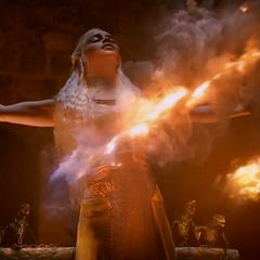 Viserion (pierwszy z prawej) z braćmi i Daenerys podczas palenia <a href=