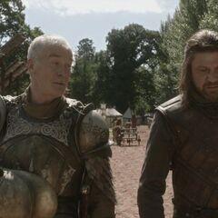 Еддард Старк і Барристан Селмі обговорюють смерть Джона Аррена.
