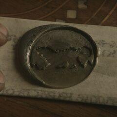 """Lordo Edardo Starko laiškas Staniui Barateonui, su Starkų giminės herbu """"<a href="""