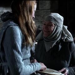 Sansa practicing her needlework with Septa Mordane in