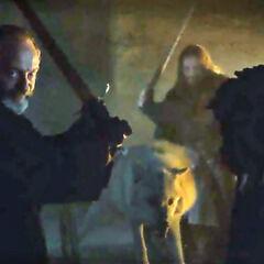 Eddison i Davos Seaworth przygotowani do obrony ciała Jona.
