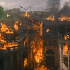 Die Stadt in Flammen