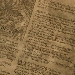 Casa Targaryen, primeira página visível, focada no topo.  As fileiras iniciais mencionam <a href=