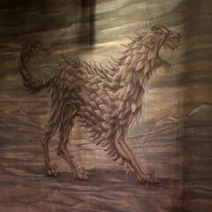 Ângulo diferente da tapeçaria com o lobo gigante.