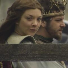 Behind the scenes image of Margaery and Renly Baratheon.