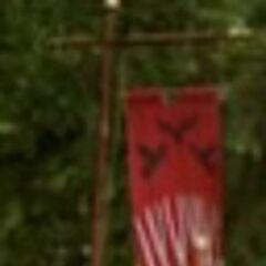 Um estandarte exibindo o brasão da Casa Blackwood.