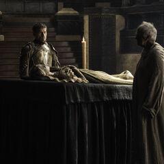 Wielki Wróbel przerywa pogrzeb Myrcelli.