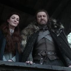 Catelyn i Eddard Stark w Winterfell.
