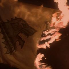 Deganti Starkų giminės vėliava per <a class=