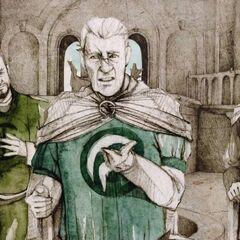 Três senhores vestindo o símbolo de suas Casas em suas túnicas: Casa Arryn (centro); <a href=