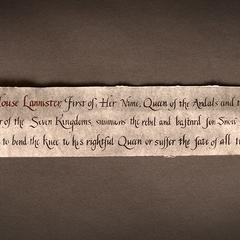 Cerseis Brief an Jon