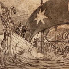 Андали перетинають Вузьке море, на вітрилі зображена семикутна зірка