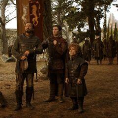 Tyrion, Bronn, Podrick und die Stadtwache auf dem Königsweg vor Königsmund