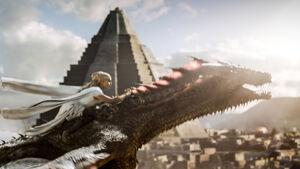 Dany rides Drogon s6 Meereen