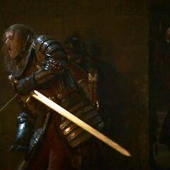 Lancel trafiony strzałą.