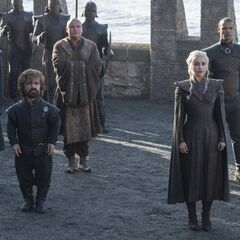 Od lewej: Tyrion Lannister, Varys, Daenerys Targaryen, <a href=