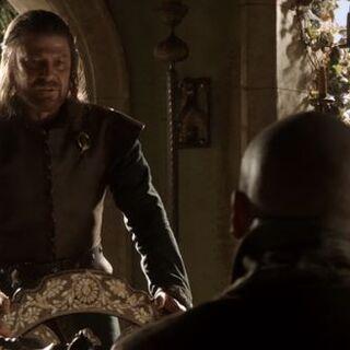 Eddard und Varys im Arbeitszimmer der Hand des Königs