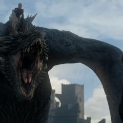 Drogon lands before Jon.