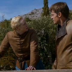 Brienne rozmawia z Jaimem na temat Sansy, <a href=