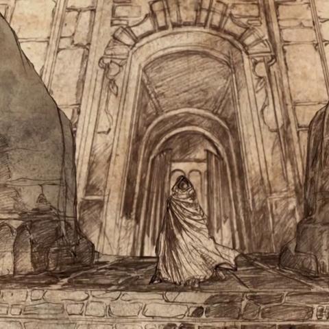 Wejście do Cytadeli z dwoma wielkimi kamiennymi sfinksami.
