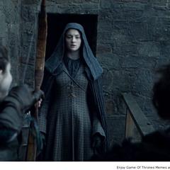 Myranda próbuje powstrzymać Sansę przed ucieczką.
