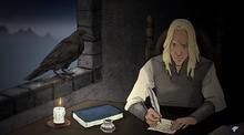Деймон пишет письмо Эймонду